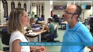 Con el redactor Manuel Bellido en Canal Sur TV